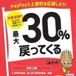 上里町PayPay最大30%戻ってくるキャンペーン!